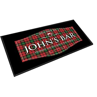 Artylicious Personalised scottish Red tartan label bar pub mat runner counter mat
