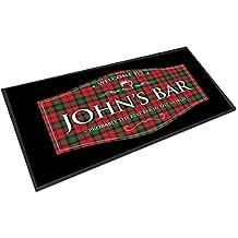 Artylicious Personalizable Rojo escocés tartán Etiqueta Pub Bar Contador de Camino de ...