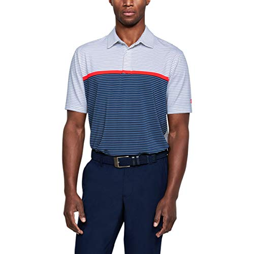 Under Armour 2018 Herren Crestable Playoff Kurzarm-Golf-Polo-Shirt White/Academy/Neon Coral Small (Neon-golf-shirt)