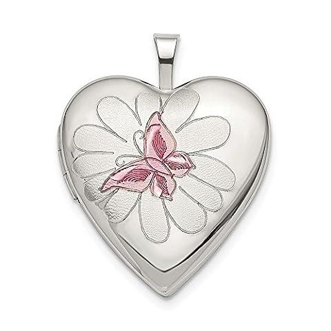 Argent sterling 20mm Papillon en émail rose Médaillon en forme de cœur