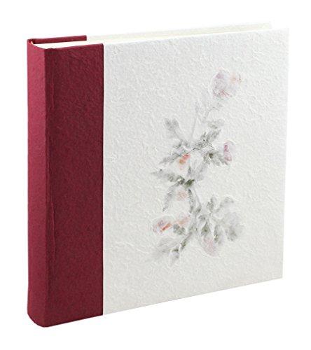 (Elegantes Fotoalbum Manila aus Papier von Reis mit Taschen für 200Fotos 13x 19cm. bordeaux)
