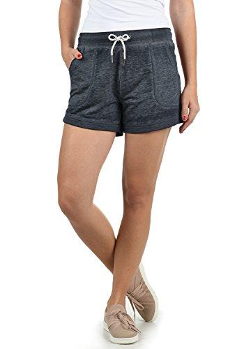 DESIRES Bente Damen Sweatshorts Bermuda Shorts Kurze Hose Mit Melierung Und Kordel Regular Fit, Größe:M, Farbe:Insignia Blue Melange (8991)