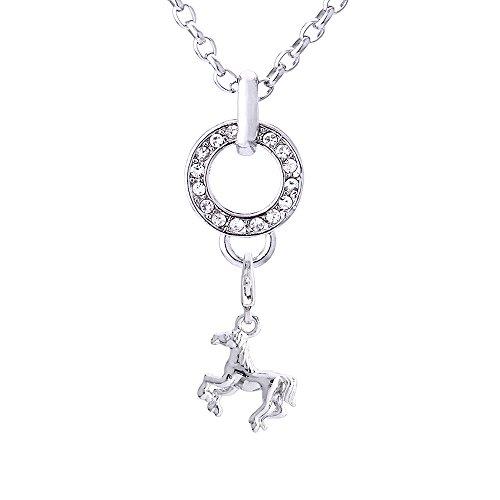 Morella Edelstahl Charm Halskette 70 cm und Charm Anhänger Pferd in Samtbeutel