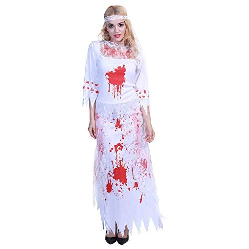 Bride Kostüm Kind Ghost - Lomelomme Halloween Damen Cosplay Ghost Bride Kleid Halloween Charakter Erwachsene Halloween Kostüm Cosplay Kleidung Requisiten Kopfbedeckung und Kleid Lang