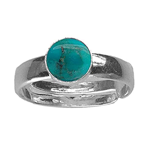 6mm Round Genuine Matrix Turquoise Cabochon 925 Sterling Silver Adjustable / Expandable Ring