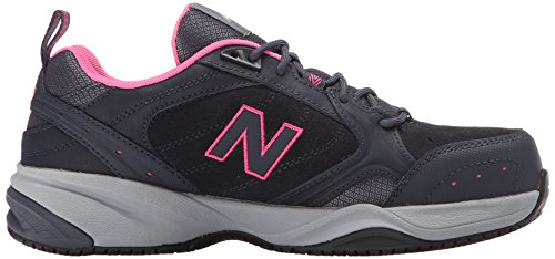 New Balance Women's WID627V1 Steel Toe Training Work Shoe Dark Grey/Pink