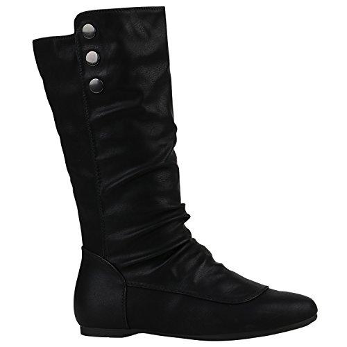 Damen Schuhe Schlupfstiefel Warm Gefütterte Stiefel Leder-Optik Boots 152244 Schwarz Amares Nieten 40 Flandell