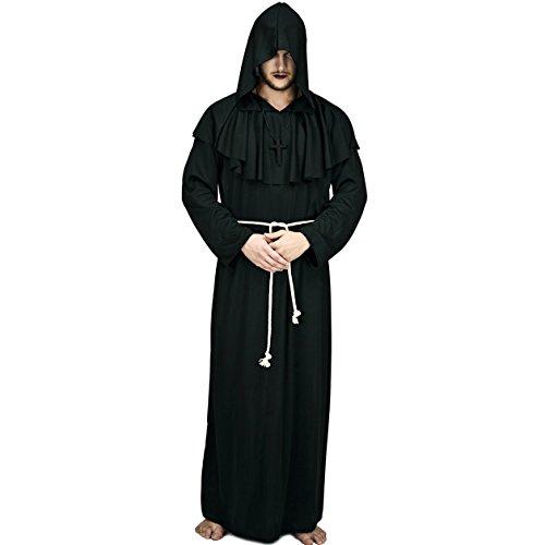 SEA HARE Adult Männer Kapuzen Mönch Robe Kostüm (Schwarz)