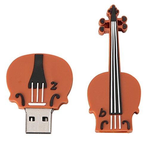 Sharplace violino stringa strumento forma unità flash usb 2.0 unità flash usb per casa ufficio - marrone 16gb