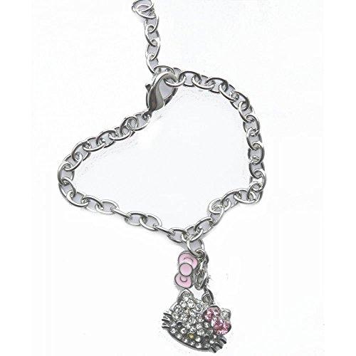 Hallo Kitty Diamante Charm Silber Farbige Mädchen Armband (Designer Fancy Dress Kostüme)