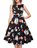 ihot Damen Vintage 1950er Jahre klassisch Rockabilly Retro Floral Muster Print Cocktail Abend Swing Party Kleid Gr. XX-Large, 14-Pumpkin Skull