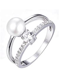 Mm Pearl And Solitaire Ring In 925 Sterling Silver, Ring Size 13- By Ornate Jewels