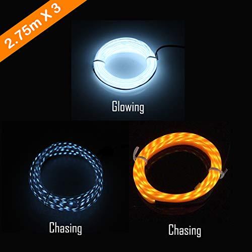 EL Wire, Chasing Kabel Neon Seil Lichter, tragbare batteriebetriebene, flexible Neonlicht für Heimtextilien, Party, DIY, Autos, Fenster, Beleuchtung Banner 3 PCS