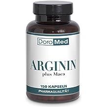 L-Arginina más Maca Cápsulas – Concentradas y puras - 1600 mg de L-Arginina + 400 mg de Extracto de Maca + 147 mg de Extracto de Semilla de Uva por dosis diaria (4 cápsulas) – 150 cápsulas veganas – Calidad farmacéutica de fabricación alemana