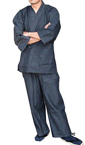 edoten da uomo kimono giapponese Denim Samue Black XXXL