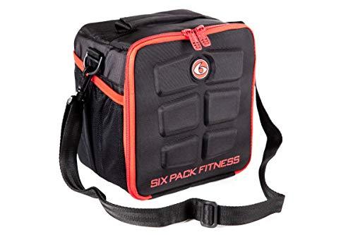 Meal management all black - set di 6 borse da fitness, con contenitori e refrigeratori, rosso