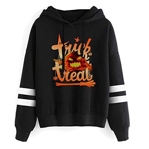 MMOOVV Sweatshirt Hooded Womens Halloween Pumpkin Print Long Sleeve Pullover Blouse
