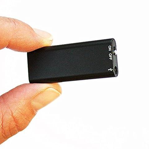 LAYEN® Tiny & Discreet Black 8GB Digital Voice Recorder & MP3 Player. Dictaphone Machine With (File Cassetto Sistema)
