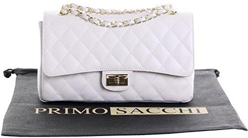 Borsa di cuoio italiano Design classico diamante forma borsa tracolla imbottita, con catena in metallo e cuoio, maniglie / tracolla include una custodia protettiva marca Crema medio
