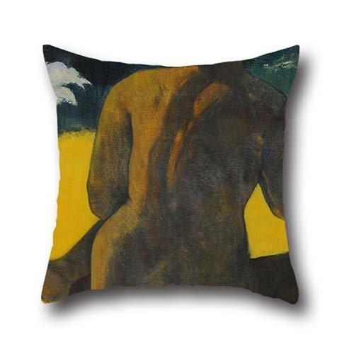 Pillowcover Olio di Gauguin, Paul-Vahine no te miti (Femme a La Mer) (Mujer del Mar). 45,7x 45,7cm/4545cm, perfetta per adolescente, ragazzo, ufficio, Coppie, adolescente, ragazzo, Panca, GF due lati