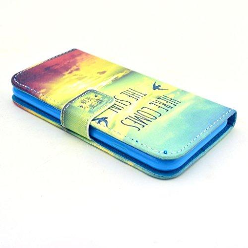 Uming Rétro Colorful Pattern Cas motif coloré Imprimer en cuir pour Apple IPhoneSE IPhone 5S SE 5G 5 IPhone5 IPhone5S Apple5S PU Leather Flip Etui avec support Stander Titulaire main libre carte de cr Voici venir le soleil