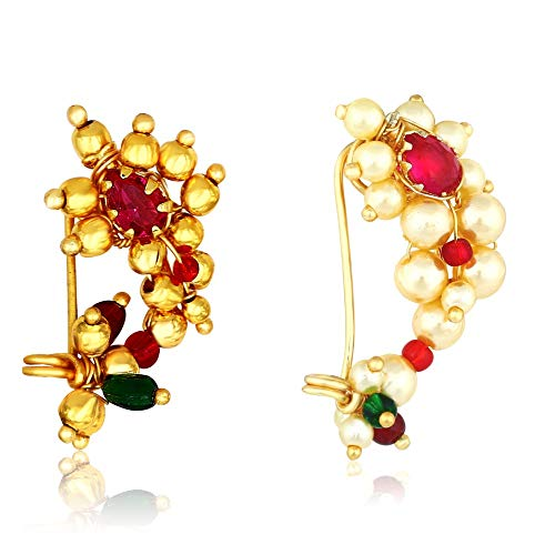 MEENAZ Maharashtrian Traditional Pearl Temple Jewellery marathi Banu Nose pin Nath Nose Ring for Wedding Women Girls Latest design Combo Gold Press Non pierced (2 pcs) -NATH COMBO-137