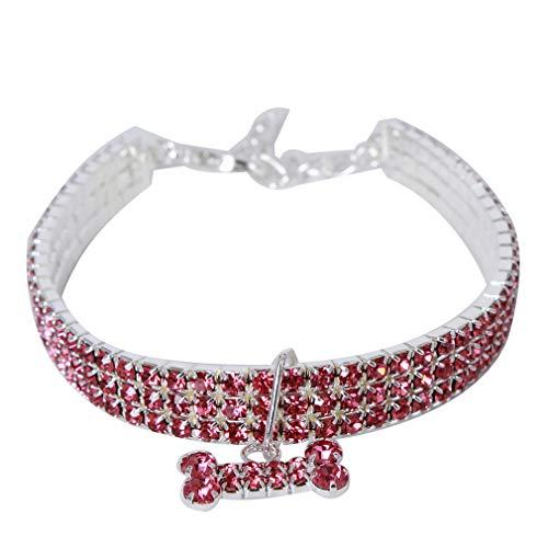 Weiy Hundeknochen Halskette Pet Feuerbestattung Halskette Hund Halskette Pet ChokerHaustierprodukte Hundekatze Zubehör Hundehalsband Welpen Kragen Faux Diamantkragen, Pink, Länge 30cm + ()