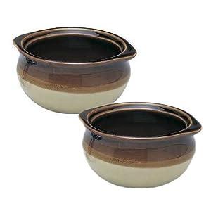 2er-Set – 284 ml. Ounce) Französische Zwiebelsuppe Schale, Untertopf, Einzel-Servierung, Keramik, zweifarbig, flacher…