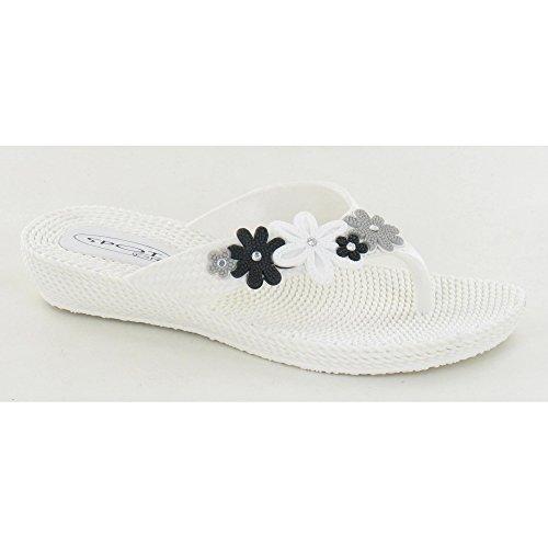 Spot On Tongs à Motif Floral - Femme Blanc