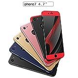 iPhone 7/7 plus Hülle,Wouier® 3 in 1 Ultra Dünner PC Harte Case 360 Grad Ganzkörper Schützend Anti-Kratzer Anti-dropping Schutzhülle für Apple IPhone 7/7 plus (iPhone 7, Black + red) -