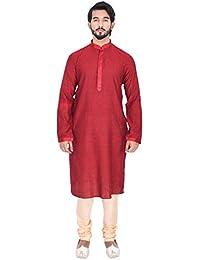 Manyavar Men's Maroon Knee-Long Regular Fit Self-Designed Kurta & Churidar Set