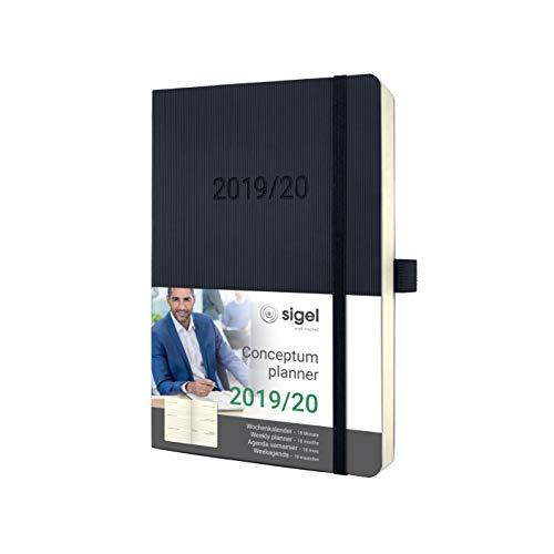 SIGEL C2006 Wochenkalender 2019/2020, 18 Monate, ca. A5, schwarzes Softcover, Conceptum - weitere Modelle (Monats-und Wochenplaner)