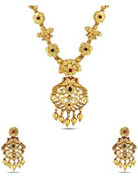 Jewlot Multi-Color Brass Kundan Long Necklace Set For Women And Girls