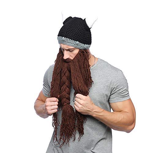YANGLAN Hornkappe Bart Hut, Männer Und Frauen Strickmütze, Winter Wollmütze, Halloween Creative Hut