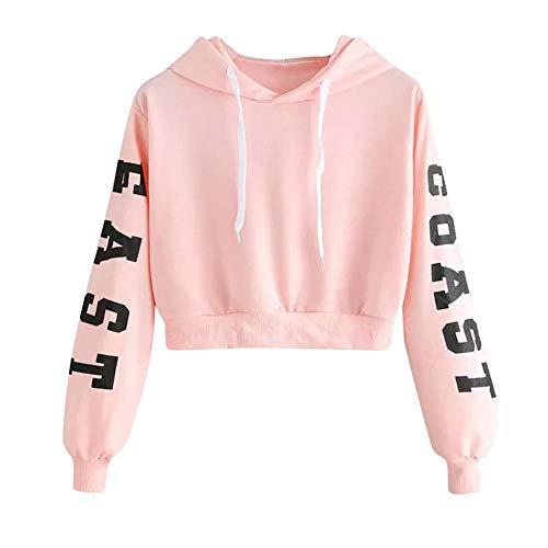 YEBIRAL Damen Hoodie Mädchen Kapuzenpulli Briefdruck Bauchfrei Pullover Oberteile Kurz Sport Crop Tops Sweater Sweatshirt Sweatjacke(XS,Rosa)
