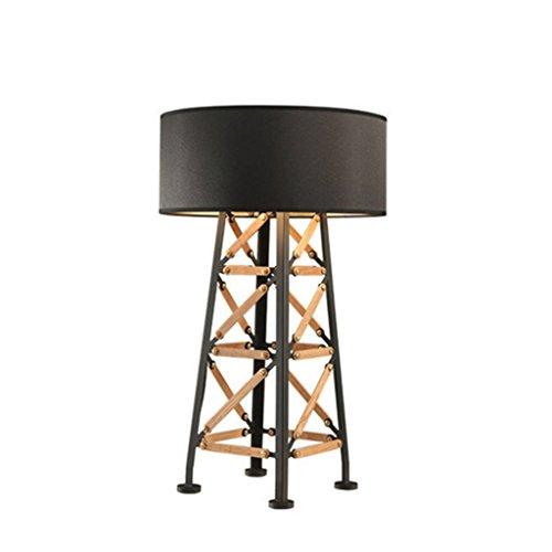 LILY Satin & Postmodern Hochwertige Holztischlampe Schmiedeeisen Lampe Körper Schlafzimmer Wohnzimmer Kaffee Zimmer Tischlampe E27 * 1 -