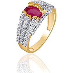 VK Jewels Red Ruby Gold and Rhodium Plated Ring for Women - FR1118G Size 16 [VKFR1118G16]