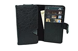 TOTTA PU Leather Wallet Pouch with Card Holder For Archos 50c Oxygen- BLACK