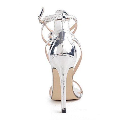 SHINIK Frauen-Knöchel-Bügel-Pumpen-populäre silberne hohe Ferse gekreuzte Sandelholze hohle reizend Frauen Schuh-Gerichts-Schuhe Silber-Kegel-Ferse-Schuhe Silver