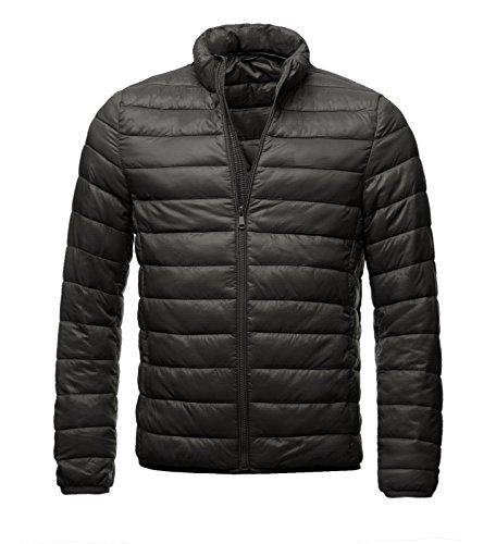 EightyFive Herren Übergangsjacke Stepp-Jacke Gesteppt Schwarz Blau Bordeaux Khaki EFS178, Größe:S, Farbe:Schwarz