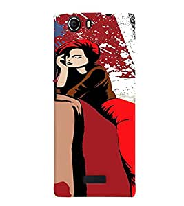 Fuson Eiffel Tower Girl Back Case Cover for MICROMAX CANVAS NITRO 2 E311 - D4072