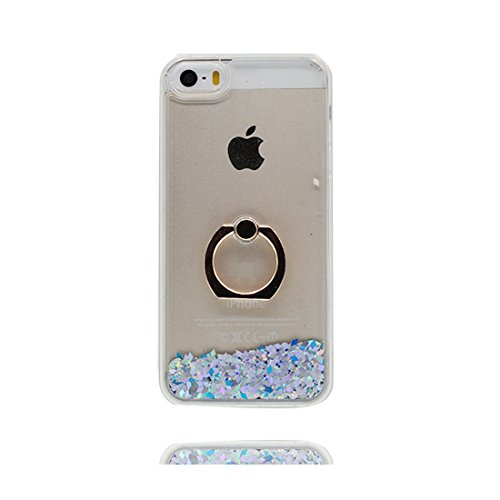 iPhone 5S Coque Case , Hard Protective Étui iPhone 5/SE/5C/5G Cover, Glitter Bling Sparkles Flowing Liquid Anti Scratch # 4