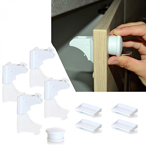 LCP Kids Sicherungsschloss magnetisch für Schubladen, Tür und Schrank Baby Kind Sicherheit 8 Schliessssystem Set magnetisch für Schubladen, Tür und Schrank