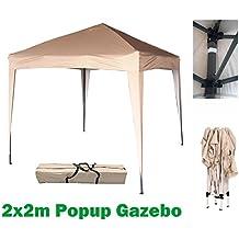 2x2m Beige Pop-up tienda de jardín resistente al agua para Garden Gazebo carpa toldo