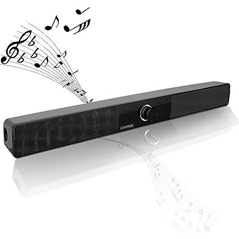 LONPOO 10w Slim TV Barra de sonido USB altavoces amplificados con micrófono y auricular Gato para PC portátil pequeña televisión (sin el AC