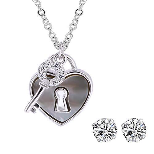 Zeitenwende Weiß Goldplattierte 925 Silber Damen Schlüssel zum Herzen Doppelanhänger Halskette - Schlüssel Mikroeinlage mit Zirkonia - Schloss mit Farbwechsel/Regenbogeneffekt - mit Geschenkbox