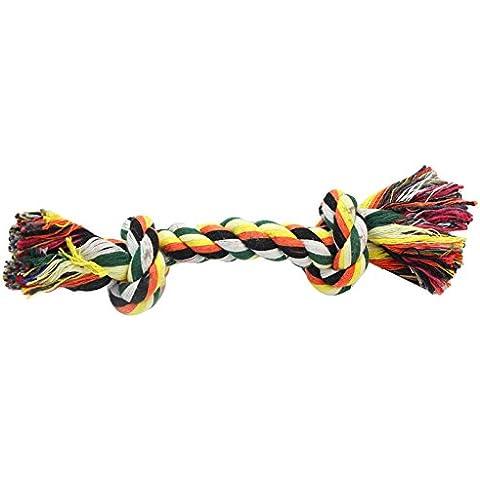 2 x Juguete Mordedor Diseño Hueso Cuerda Trenzada Algodón para Perros Mascotas