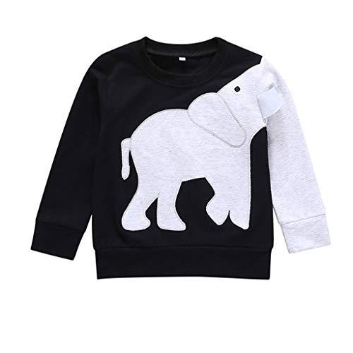 Mitlfuny Unisex Baby Kinder Jungen Zubehör Säuglingspflege,Kleinkind scherzt Baby-Jungen-Kleidung-Elefant-Bluse übersteigt Sweatshirt-T-Shirt