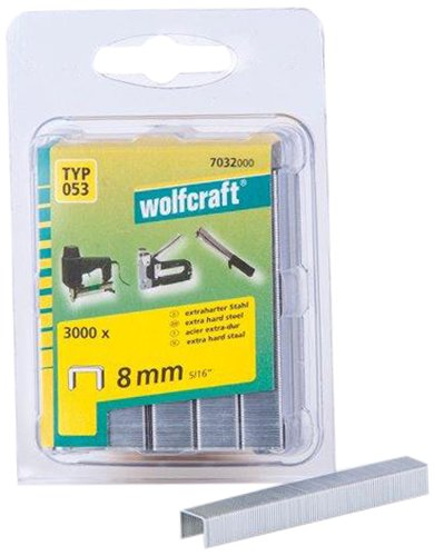 Wolfcraft 7032000 Lot de 3000 agrafes larges en acier extra dur Type 53 8 mm