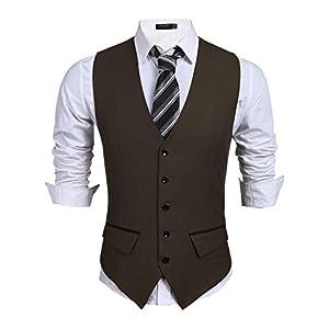 Burlady Herren Anzugweste V-Ausschnitt Ärmellose Basic Slim fit Western Weste Elegent Anzug Business Hochzeit
